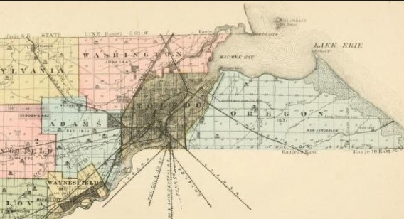 Lucas County Map with city & Township lines Circa 1840