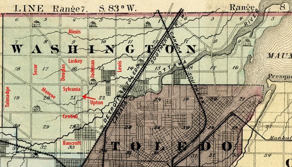 Washington Township and Toledo Map Circa 1875
